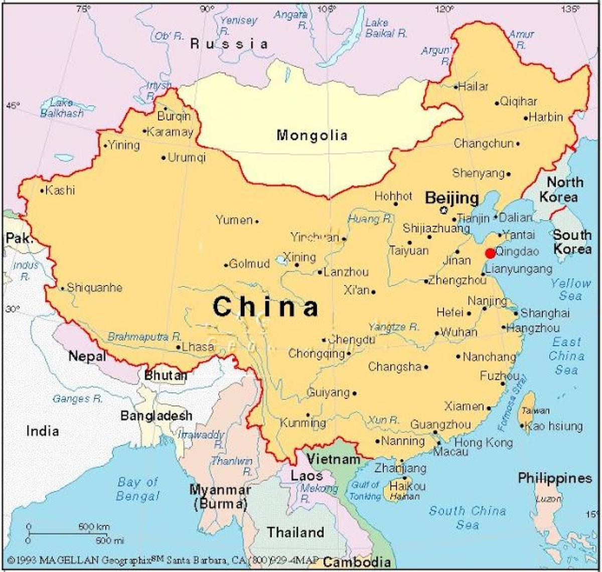 Hovedstaden I Kina Kort Kort Over Hovedstaden I Kina Kina